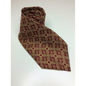 Oscar de la Renta Red Gold Geometric Silk Tie